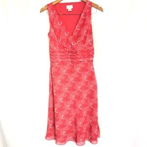 Loft sz 2 pink sleeveless ruffle dress midi floral